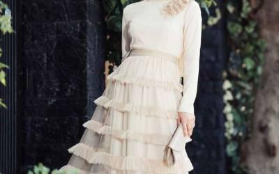 Tesettür Tül Abiye Elbise Modelleri
