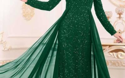 Pullu Tesettür Abiye Elbise Modelleri