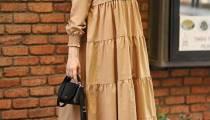 Büzgülü Tesettür Elbise Modelleri