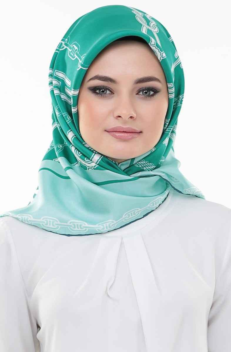 Yeşil Renkli Twill Eşarp Modelleri