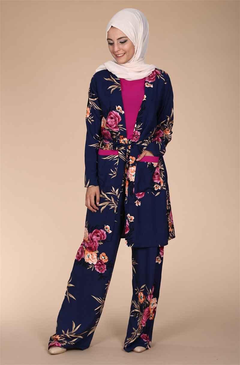 Çiçek Desenli Tesettür Pantolonlu Takım Modelleri