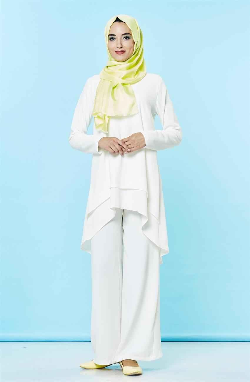 Beyaz Tesettür Pantolon Kombini Modelleri
