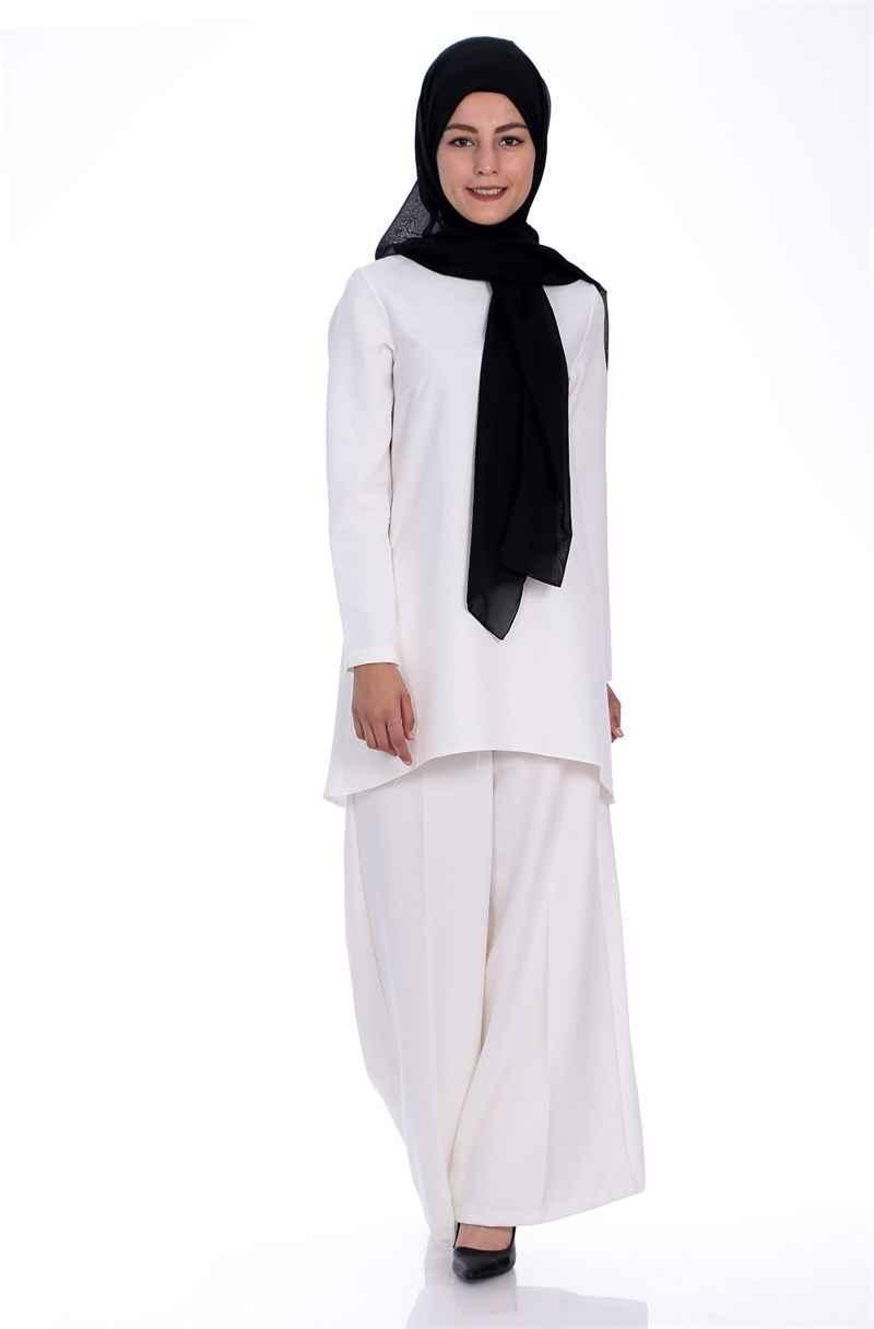 Beyaz Tesettür Pantolonlu Takım Modelleri