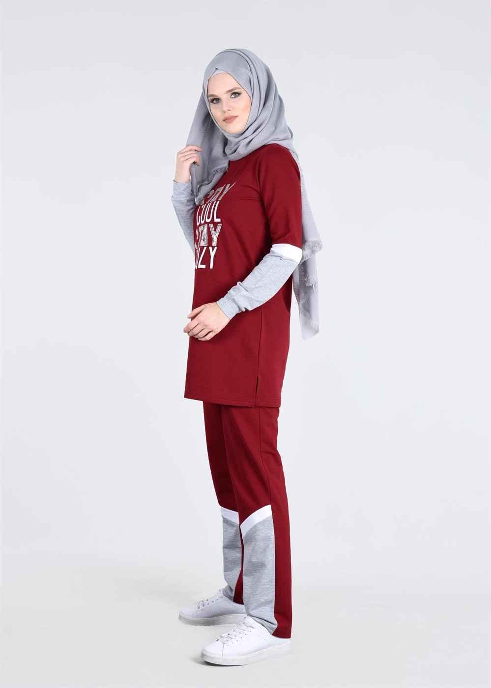 Kırmızı Renkli Bayan Eşofman Modelleri