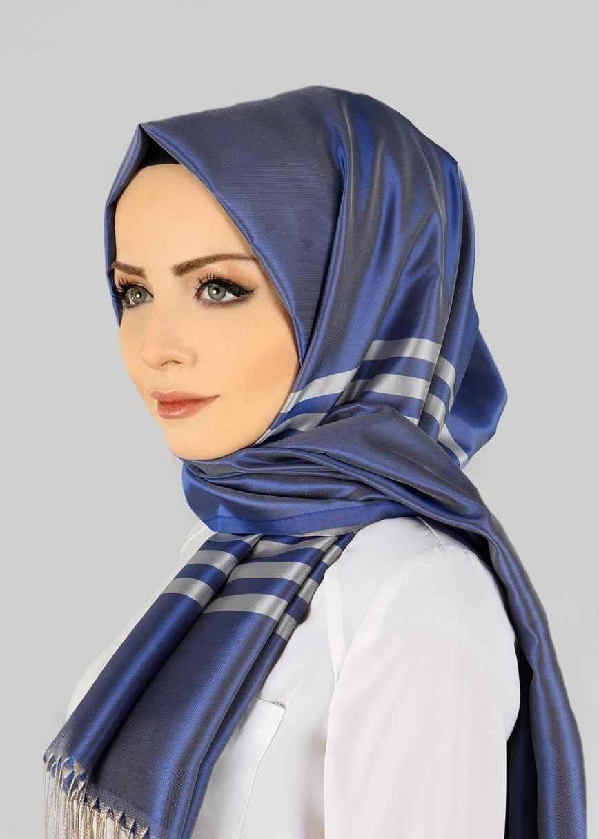 Mavi Şeritli Şal Modelleri