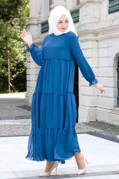 Mavi Tesettür Elbise Modelleri
