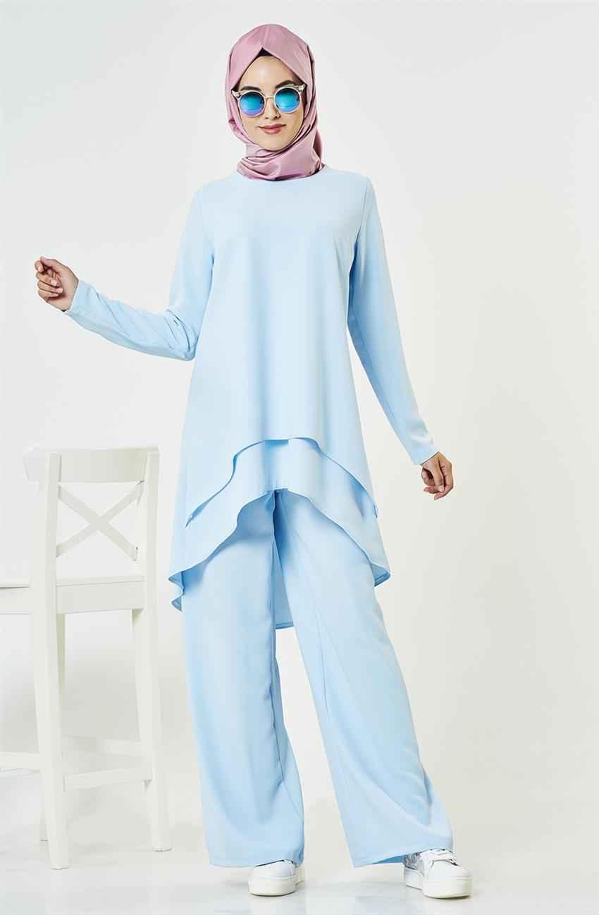 Mavi Tesettür Pantolon Kombini Modelleri