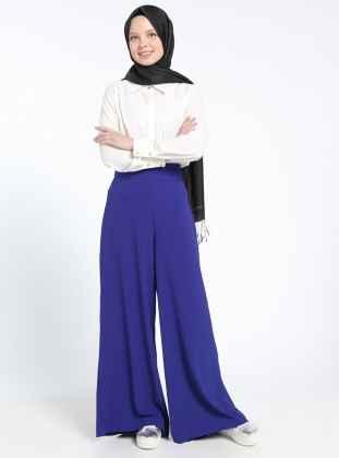 Mavi Tesettür Pantolon Modelleri