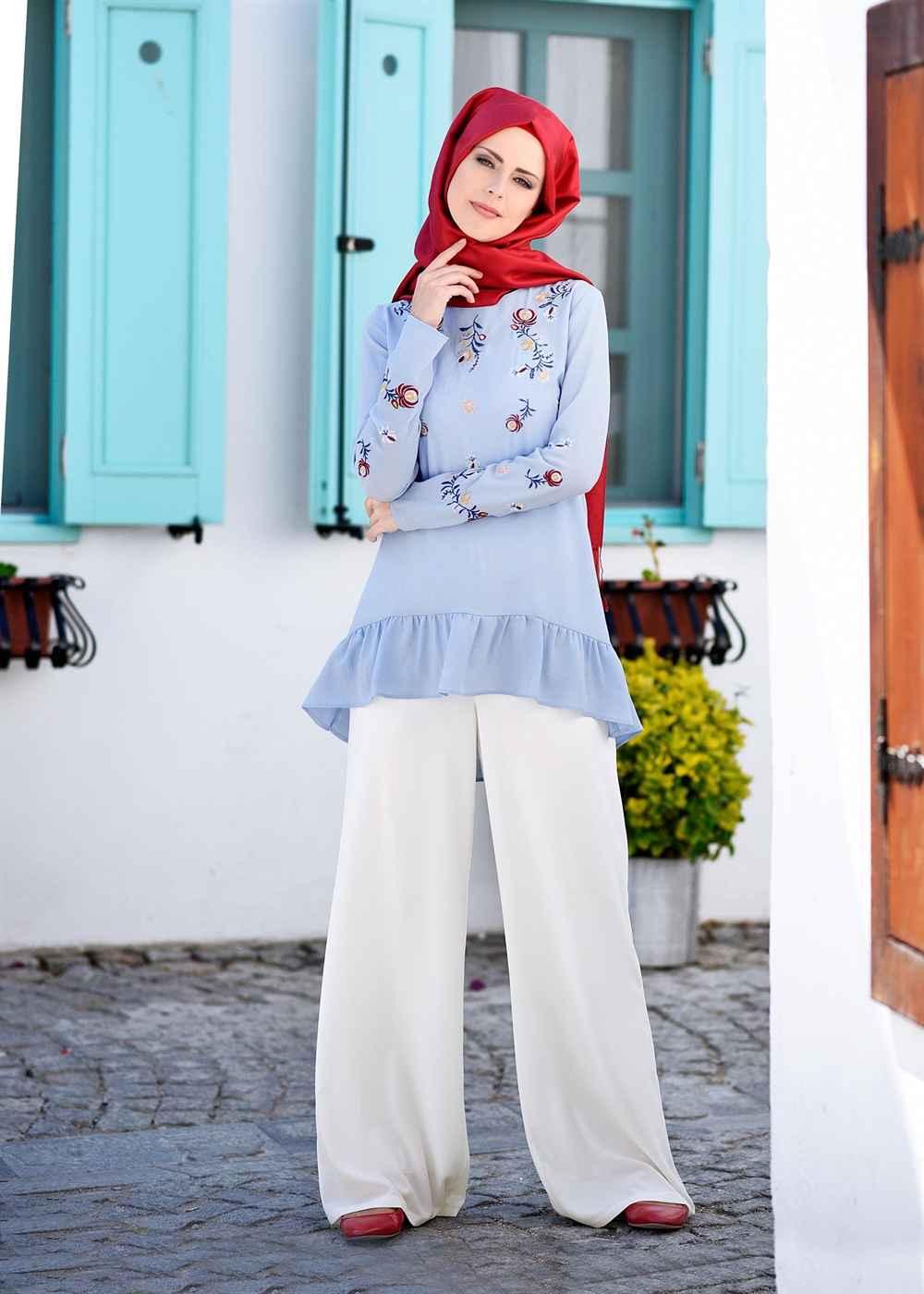 Modern Beyaz Tesettür Pantolon Modelleri