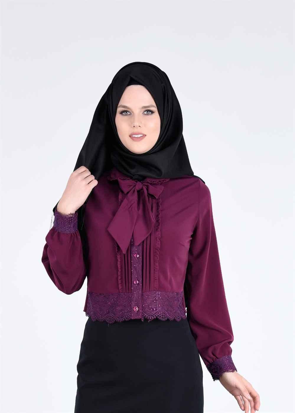 Mor Renkli Bluz Modelleri