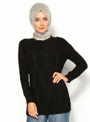 Siyah Tesettür Kazak Modelleri