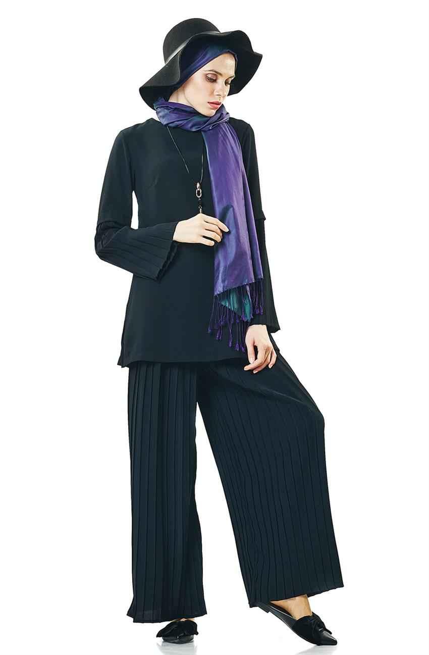 Siyah Tesettür Pantolon Kombini Modelleri