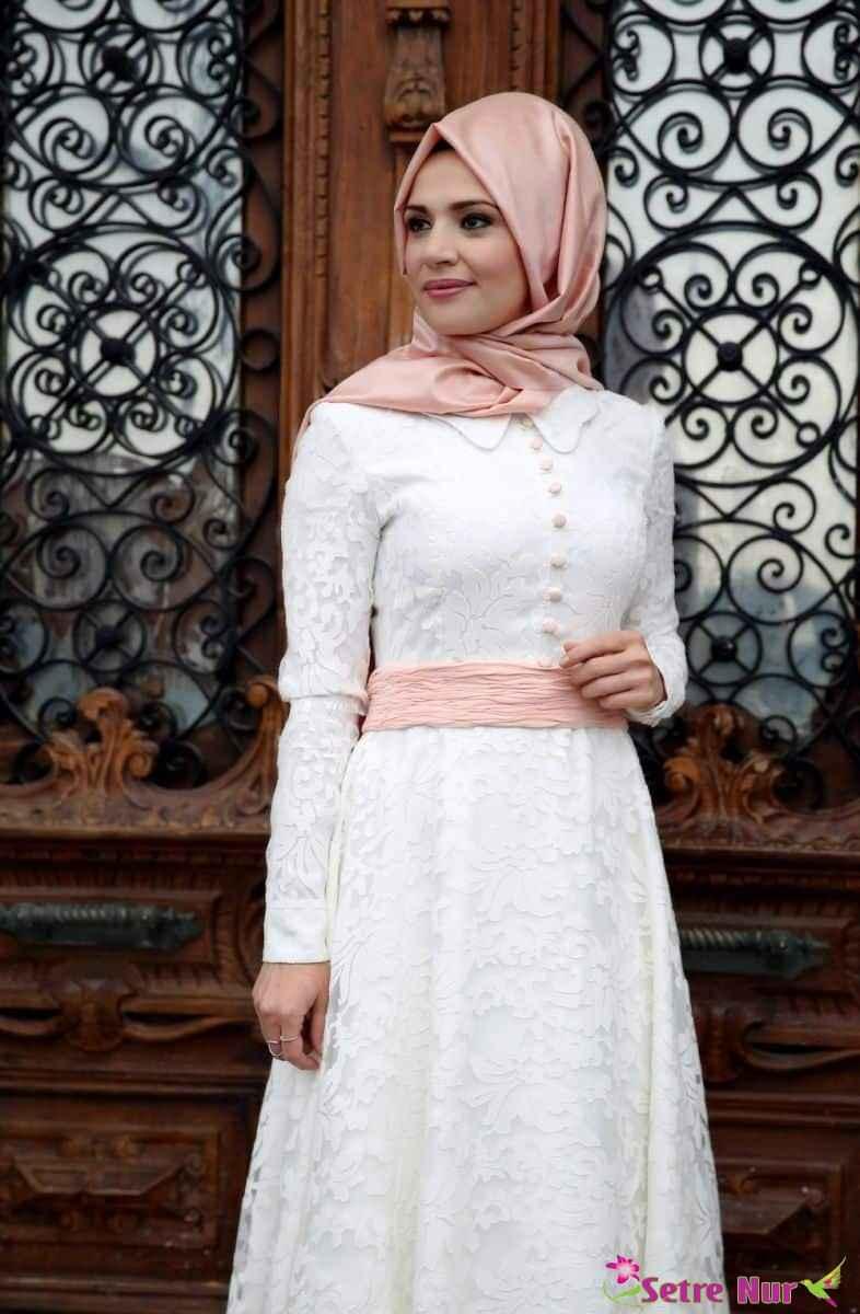 beyaz tesettür mezuniyet elbise modelleri