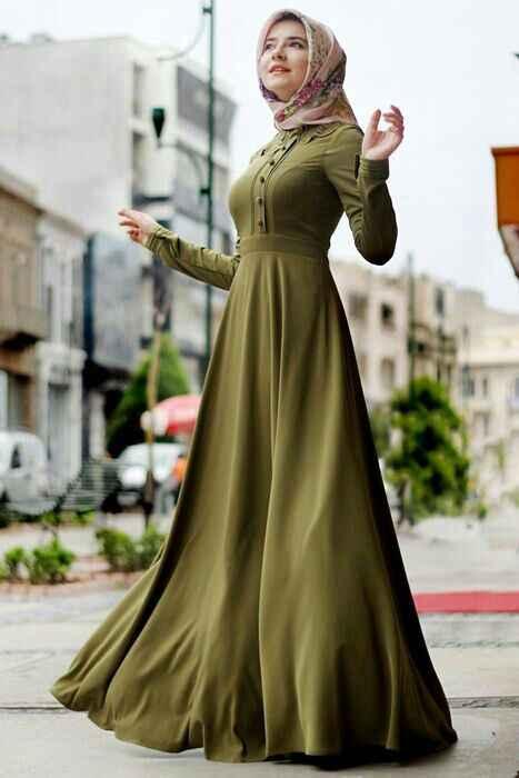 haki yeşili tesettür mezuniyet elbise modelleri