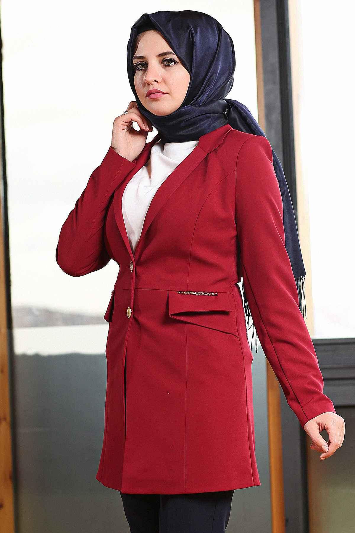 kırmızı tesettür ceket