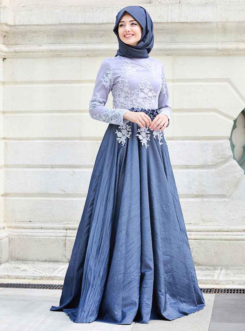 mavi renkli tesettür mezuniyet elbise modelleri