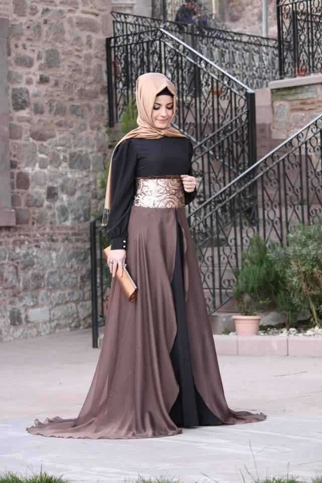 modern ve şık tesettür mezuniyet elbise modelleri