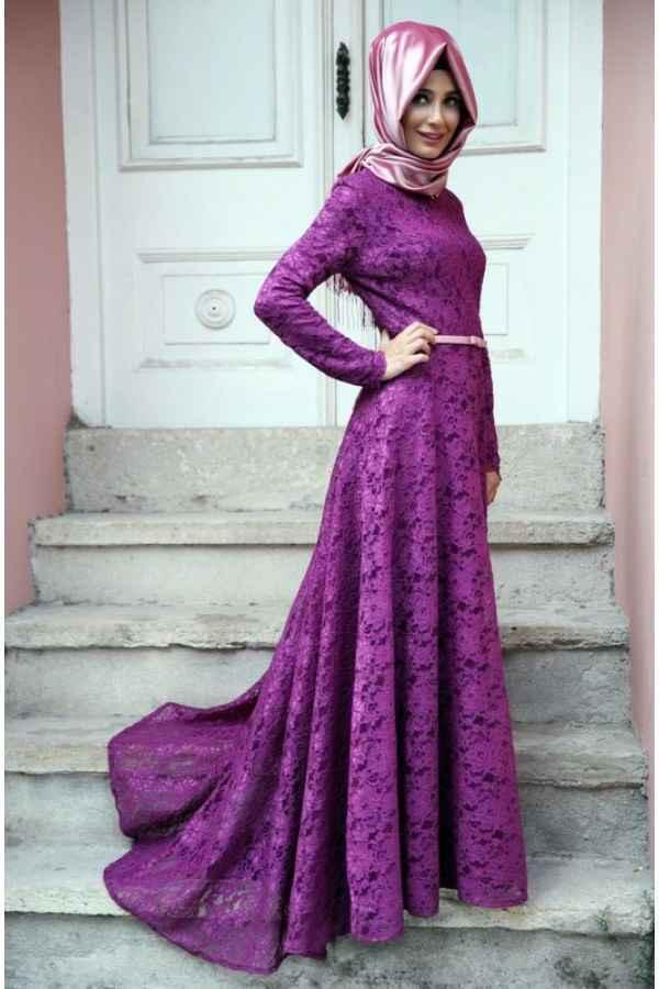 537f041a3e0e6 mor renkli tesettür dantelli abiye modelleri - Moda Tesettür Giyim