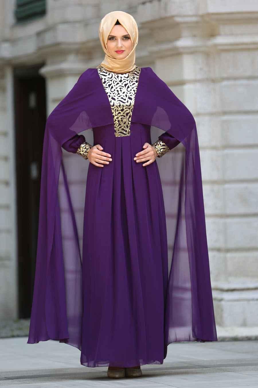 şık ve modern tesettür pelerin elbise modelleri