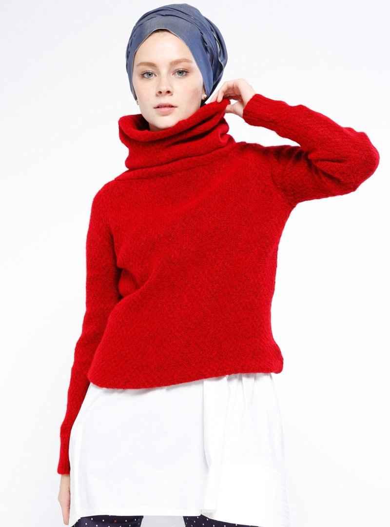 boğazlı kırmızı tesettür kazak modelleri