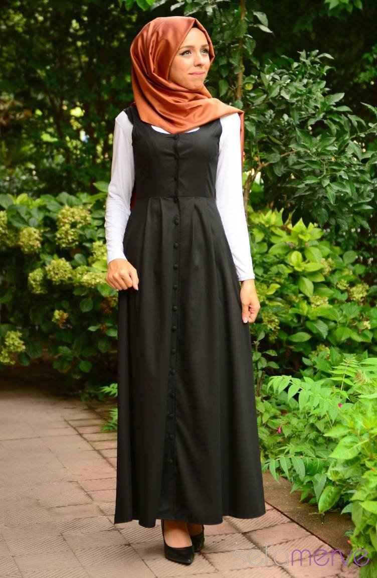 040fa867b5cff düğmeli siyah tesettür jile elbise modelleri