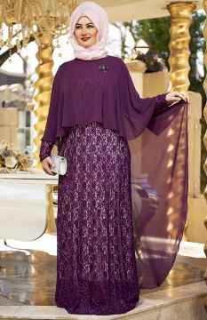 en özel tesettür pelerin elbise modelleri