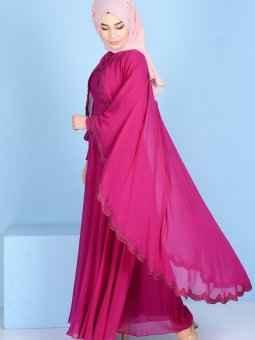 en özel ve şık tesettür pelerin elbise modelleri
