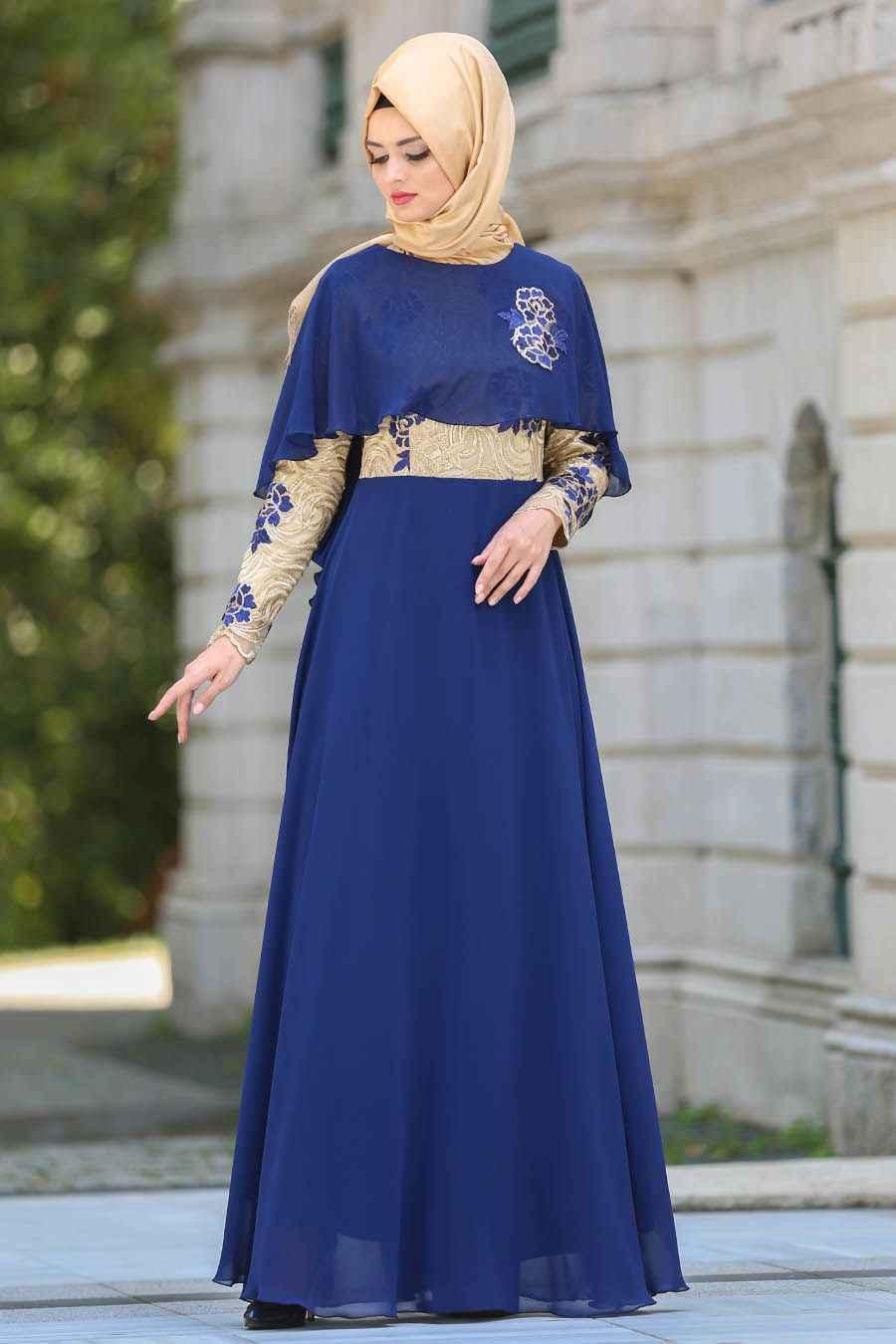 en güzel tesettür pelerin elbise modelleri