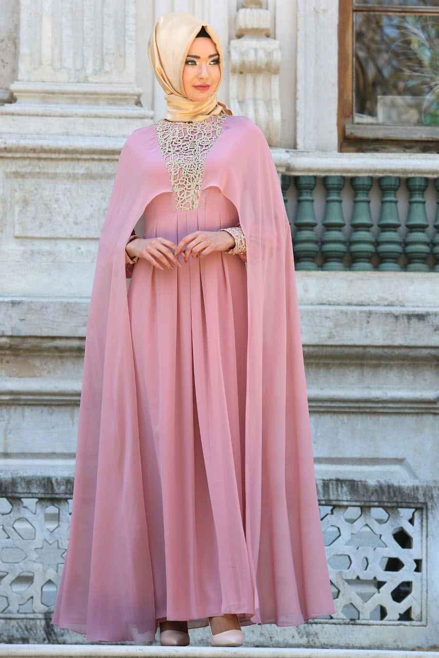 en güzel ve özel tesettür pelerin elbise modelleri