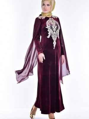 kadife tesettür pelerin elbise modelleri