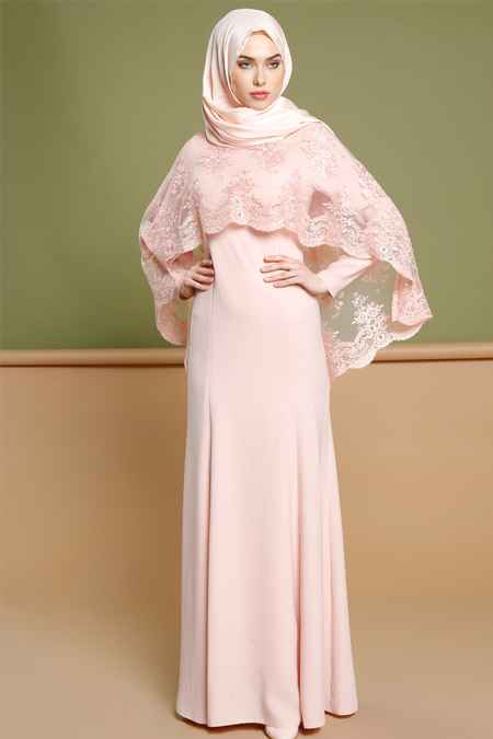 pembe tesettür pelerin elbise modelleri