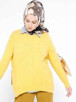sarı triko tesettür kazak modelleri