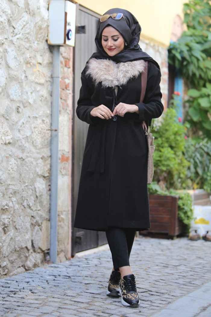 siyah kombinli tesettür kış modası