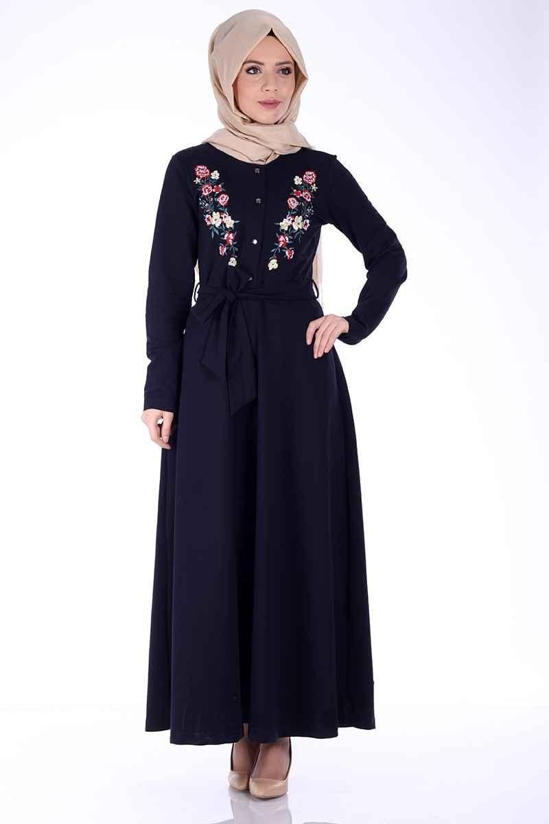 siyah nakışlı tesettür penye elbise modelleri