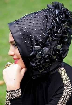 siyah renkli abiye eşarp modelleri