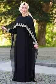 siyah tesettür pelerin elbise modelleri