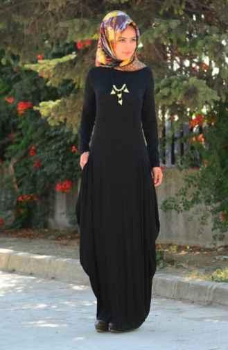siyah tesettür penye elbise modelleri