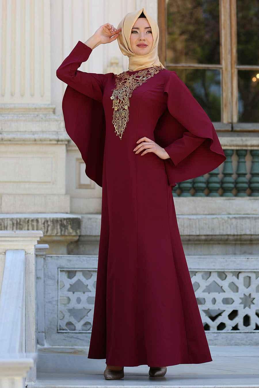 yeni sezon tesettür pelerin elbise modelleri