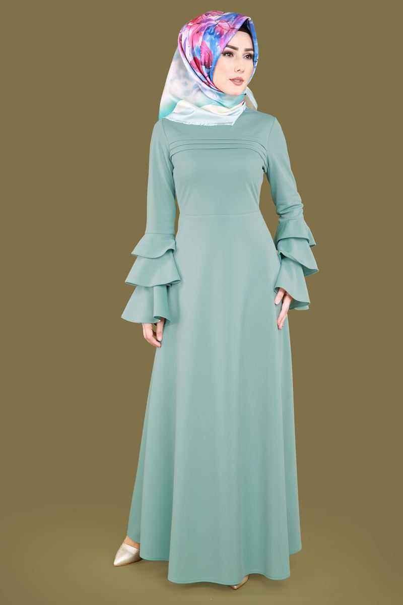 597b1ff4fc9c6 2018 tesettür volan kol elbise modelleri - Moda Tesettür Giyim