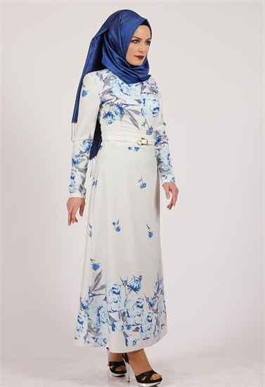 açık renkli tesettür çiçekli elbise modelleri