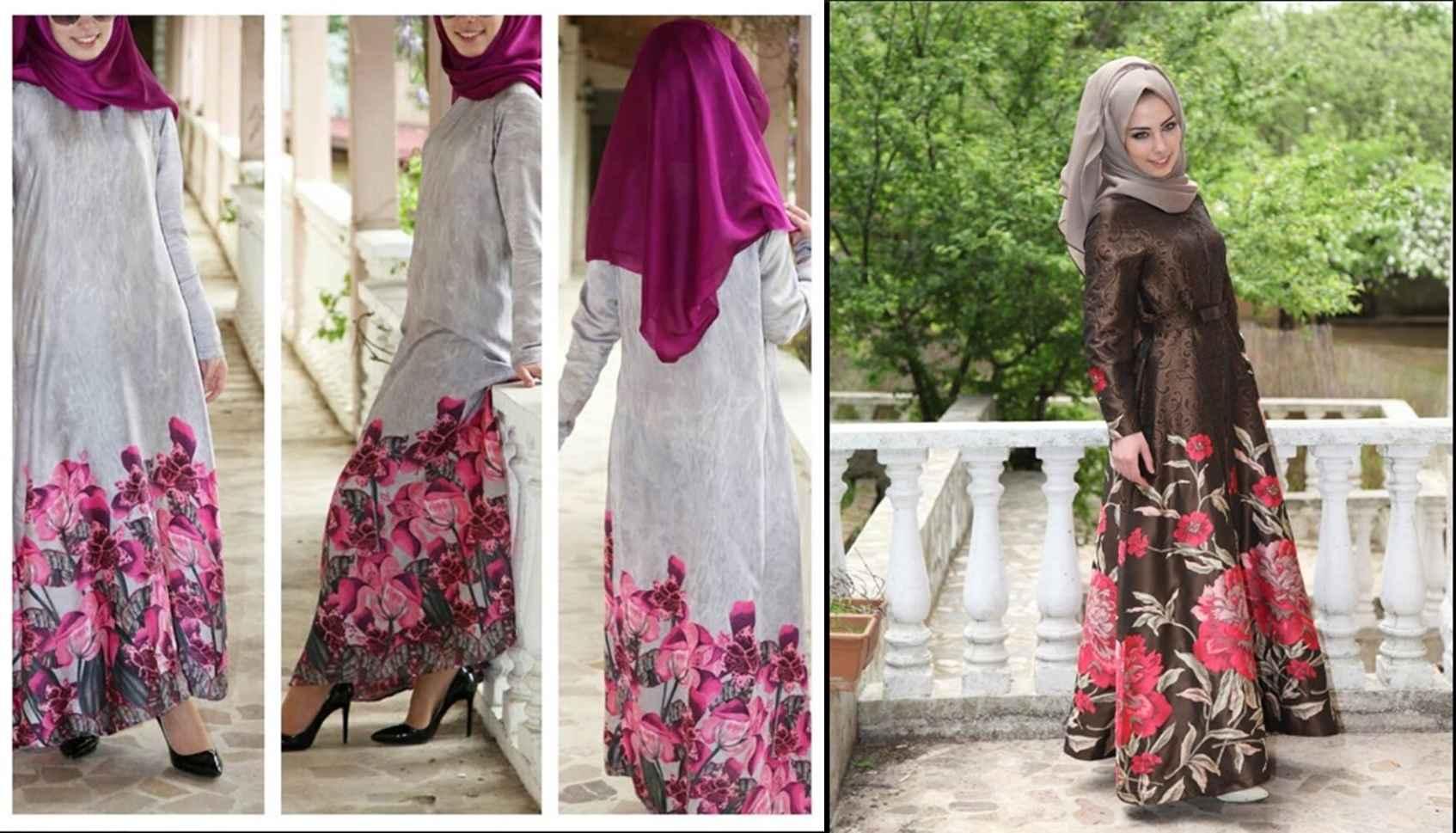 079dd353d6780 yeni sezon Tesettür Çiçekli Elbise Modelleri | Moda Tesettür Giyim
