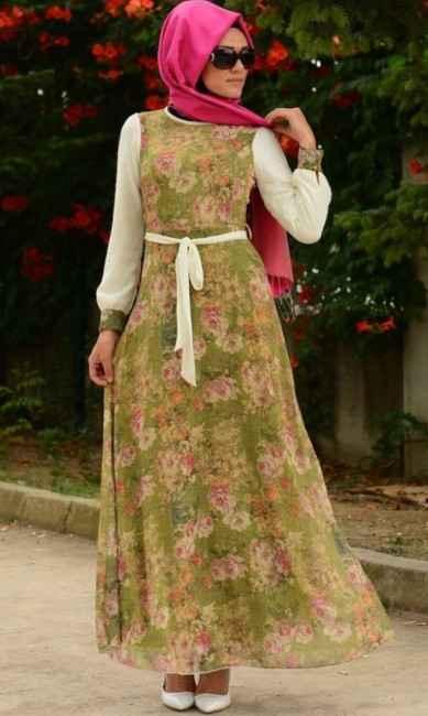 en şık ve özel tesettür çiçekli elbise kombinleri