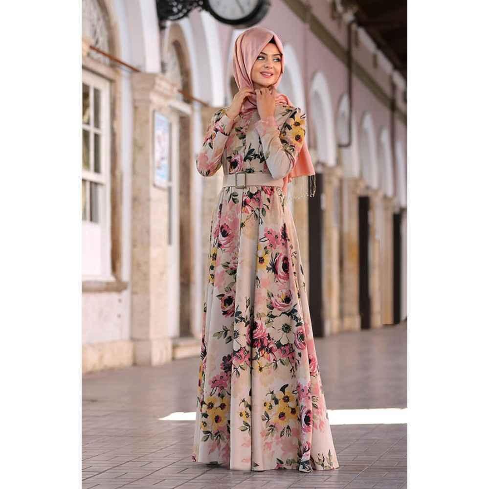 en güzel tesettür çiçekli elbise modelleri