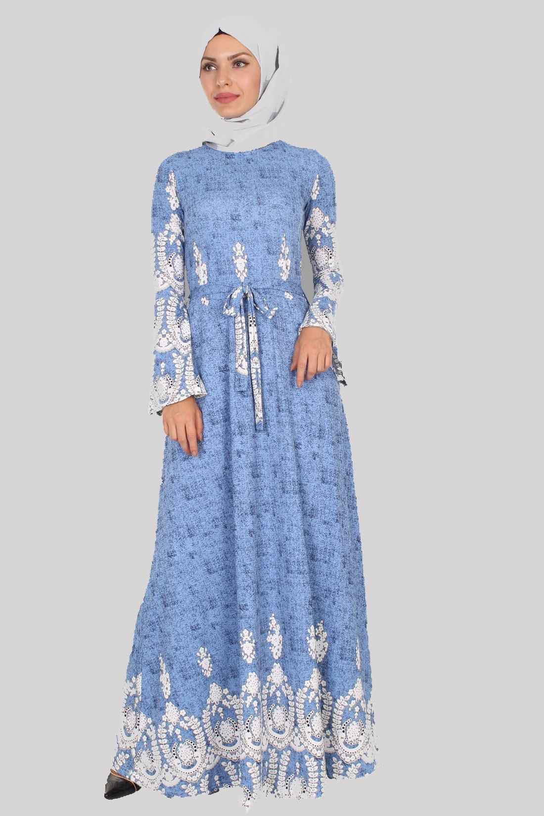 en güzel tesettür volan kol elbise modelleri