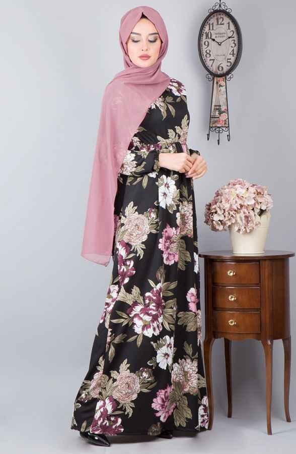 en güzel ve şık tesettür çiçekli elbise modelleri