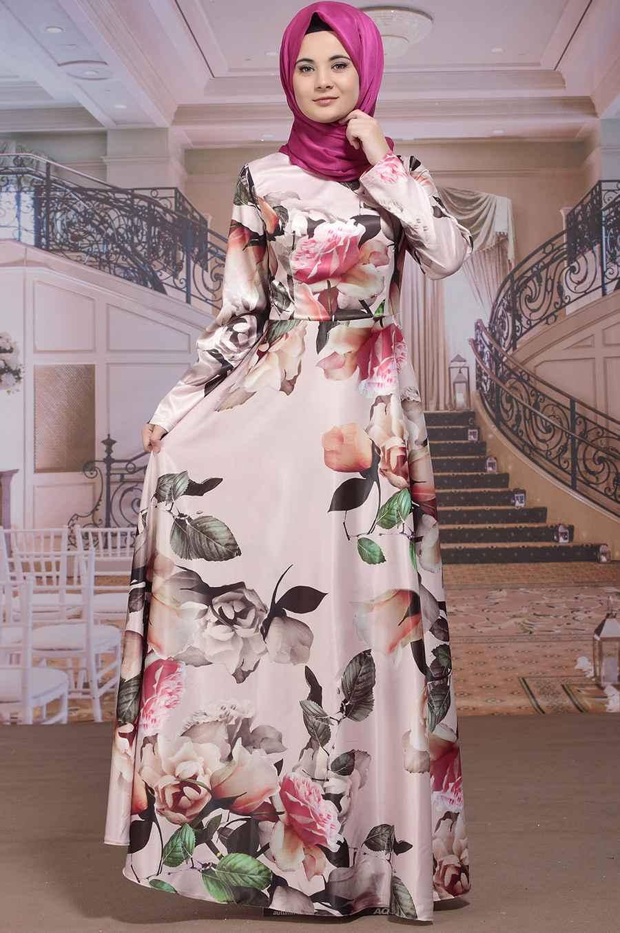 genç tesettür çiçekli elbise modelleri