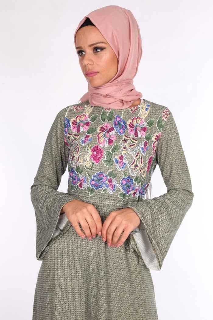 klasik tesettür çiçekli elbise modelleri