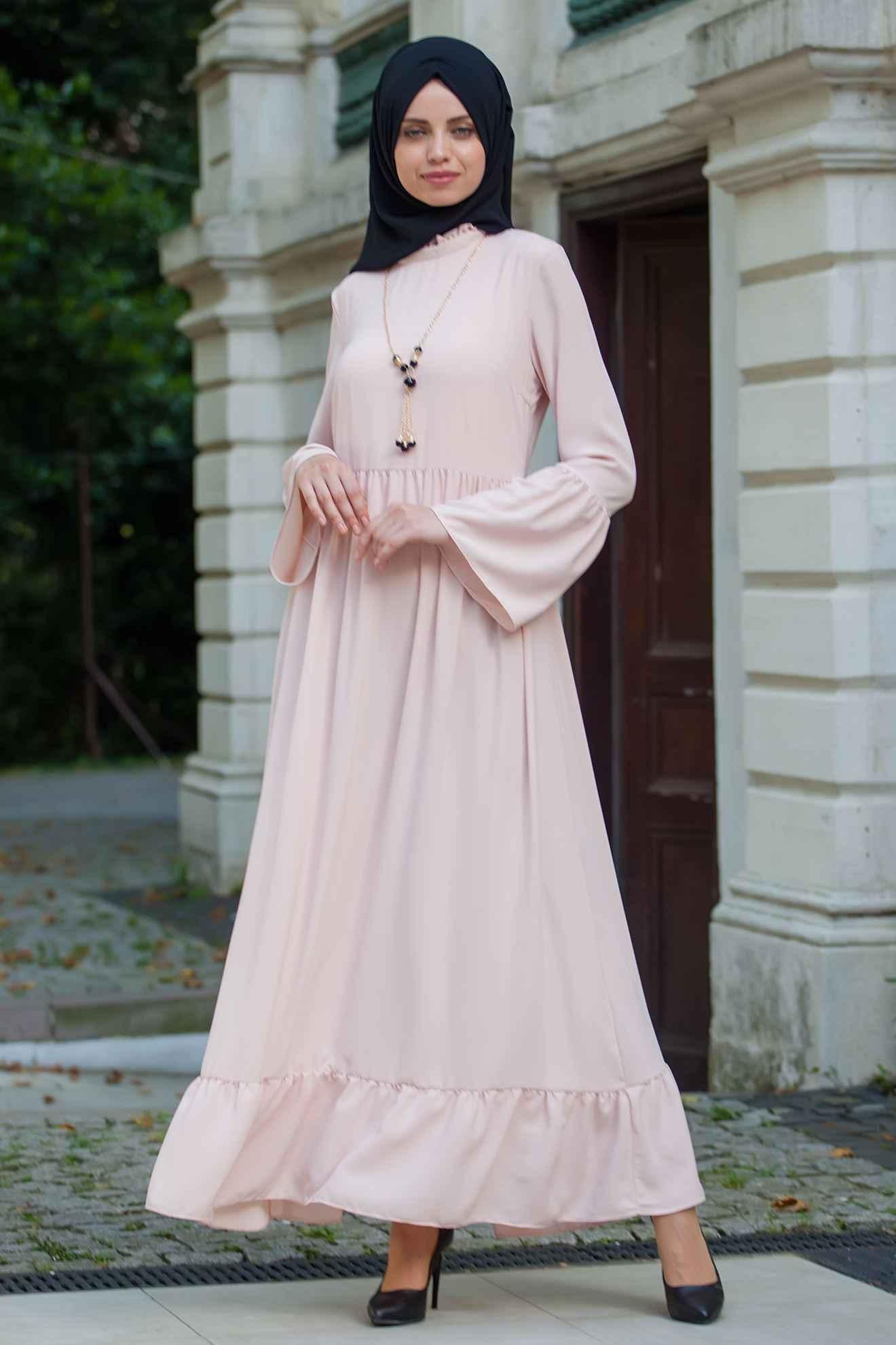 modern tesettür volan kol elbise modelleri
