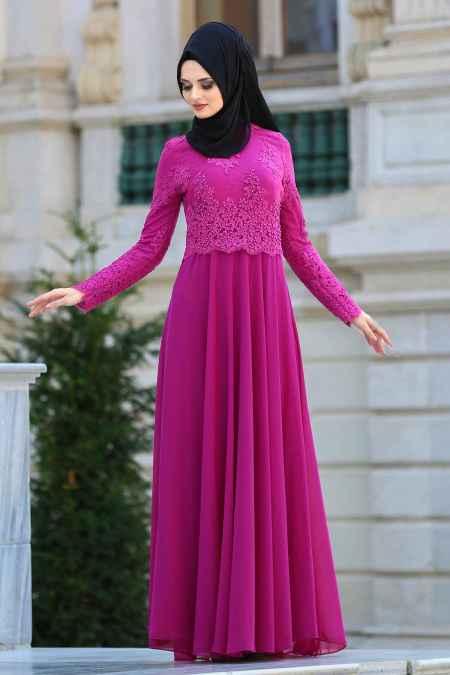 456705a5eaf14 modern ve şık tesettür dantelli abiye modelleri - Moda Tesettür Giyim
