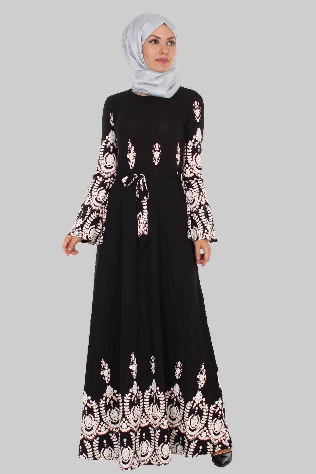 modern ve şık tesettür volan kol elbise modelleri